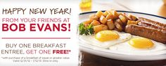 BOB EVANS $$ Reminder: Coupon for BOGO FREE Breakfast Entree – Expires TODAY (1/12)!