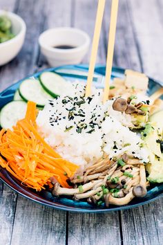 Happy Healthy Vegan Sushi Bowl - a Rice Bowl version of Sushi, without the rolling. Healthy, Gluten Free, HCLF #vegan #sushi #asian…