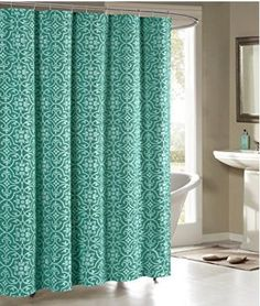 Allure Printed Cotton Blend 72 In X Shower Curtain Teal