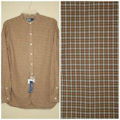 NWT Polo Ralph Lauren Rare Brown Check Mandarin Collar Button Front Shirt sz S #PoloRalphLauren #ButtonFront