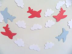 Airplane & clouds paper garland Boys by anyoccasionbanners
