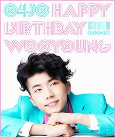 Happy birthday to Wooyoung! Jang Wooyoung, Taecyeon, Jay Park, Happy 26th Birthday, Woo Young, Meme Center, Blue Painting, Blue Backgrounds, My Favorite Color