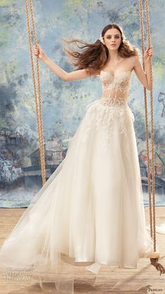 papilio 2017 bridal strapless sweetheart neckline heavily embellished bodice bustier sexy a  line wedding dress chapel train (myzomela) mv -- Papilio 2017 Wedding Dresses