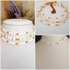 Crystal Jewelry, Beaded Jewelry, Handmade Jewelry, Beaded Necklace, Mother Of Pearl Necklace, Mother Pearl, Jewelry Shop, Jewelry Making, Heart Choker