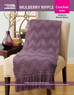 Mulberry Ripple Afghan ePattern - Soothing, undulating waves will offer comfort as you wrap yourself in this filet crochet afghan. Filet crochet is a fabulous decorative technique and it's not just for doilies anymore! Filet crochet is worked from a square-grid chart; pictures, motifs or patterns are created by combining solid and open-space blocks. The Mulberry Ripple afghan's finished size is 41' w x 56' l, excluding fringe (104 cm x 142 cm). Choose medium weight yarn in one color and a…