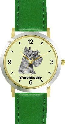 Miniature Schnauzer (SC) Dog - WATCHBUDDY® DESIGNER DELUXE TWO-TONE THEME WATCH - Arabic Numbers-EMERALD ISLE STYLE - Light Green Dial with Green Leather Strap-Children's Size-Small ( Boy's Size & Girl's Size ) WatchBuddy. $49.95. Save 38% Off!