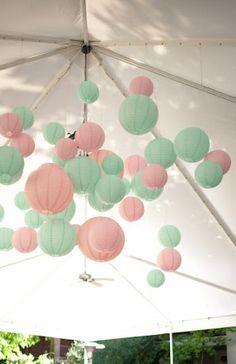 Mint and pink wedding decor - paper lanterns Wedding Themes, Wedding Colors, Wedding Decorations, Wedding Ideas, Wedding Pastel, Decor Wedding, Trendy Wedding, Our Wedding, Wedding Reception