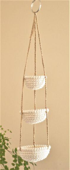 Miniature crochet hanging baskets
