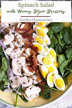 Spinach Salad with Honey Dijon Dressing is easy to prepare, hearty enough for the biggest appetite, and the tangy dressing adds an extra punch of flavor! Clean Eating, Healthy Eating, Honey Dijon Dressing, Mustard Dressing, Fruit Plus, Cooking Recipes, Healthy Recipes, Cooking Tips, Greens Recipe