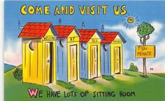 Come & Visit US We Have Lots Of Sitting Room Outhouse Linen Postcard