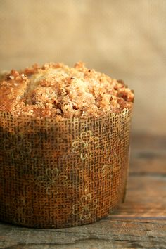 With or without a pretty paper wrapping, these muffins, made with a cinnamon-pecan-brown sugar streusel mixed into a sour cream batter, capture the spirit of breakfast treat. Make some muffins.