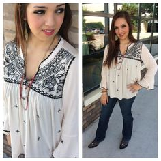 **JUST IN!!** Gorgeous new embroidery #top for #fall ! Only in our #Austin store! #ootd #fallfashion #sothread #atx — at Southern Thread @ The Domain.
