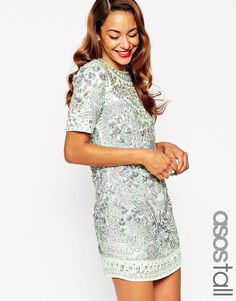 ASOS TALL RED CARPET Premium Embellished Show Tank Shift Dress