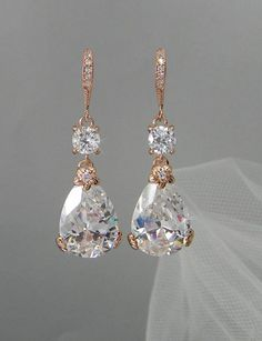 Rose Gold Bridal Earrings, Drop Wedding Earrings, Swarovski, Bridesmaids…