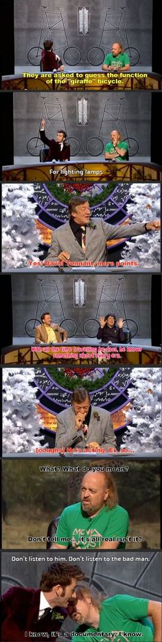 """David Tenant on QI: """"Don't listen to the bad man."""" Oh the Doctor Who references :)"""