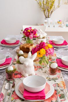Arranging flowers in stemless wine glasses is so charming – and simple! Dust off your wine glasses and line them up on your table. Next, select your flower of choice. Fresh pedals come in a rainbow of shades, so matching them to your Easter brunch tablescape is a cinch; we paired bright pinks and vibrant yellows with crisp whites for a modern vibe that's #SoWorthIt.