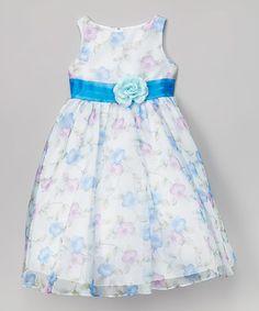 Another great find on #zulily! Blue Floral Organza Dress - Toddler & Girls #zulilyfinds