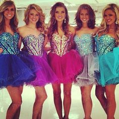 Gorgeous Factory Made Custom Made Ball Gown Puffy Sweetheart Neckline Crystal Short Prom Dress - $144