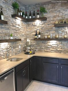 Beautiful wet bar with floating shelves and stone! in kitchen diy Best of the 2017 Parade of Homes - Day 2 – Welsh Design Studio Kitchen Room Design, Home Decor Kitchen, Interior Design Kitchen, Studio Kitchen, Kitchen Ideas, Modern Farmhouse Kitchens, Home Kitchens, Dream Kitchens, Home Bar Designs