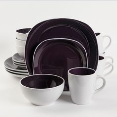 Gibson Home Chicstone 16 Piece Dinnerware Set, Purple