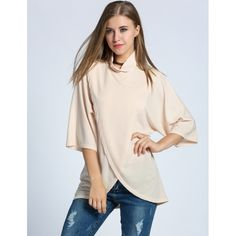 Women Turtle Neck Batwing Sleeve Slit Front Asymmetrical Hem Blouse Tops $10.00 #apparels#blousesandshirts