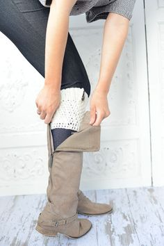 The MiNi Knitted Boot Cuffs MultiColor Ivory Yarn by ThreeBirdNest, $29.00
