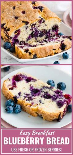 Blueberry Bread is super easy and quick to make from scratch! This moist quick bread is loaded with fresh blueberries and topped with a sprinkle of sugar for some crunch. A perfect quick breakfast for busy mornings that the whole family will love! Blueberry Quick Bread, Blueberry Desserts, Blueberry Crisp, Blueberry Cake, Quick Bread Recipes, Baking Recipes, Pie Recipes, Recipies, Easy Desserts