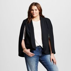 a8f3435dfc1a0 Women s Plus Size Cape Blazer Black 4x - Who What Wear™   Target Plus Size