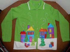 Ladies Tiara International Lime Green Holiday Christmas Sweater M Cardigan  #TiaraInternational #Cardigan