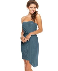 Jump Dress, Strapless Gathered Lace Chiffon - Juniors Dresses - Macy's