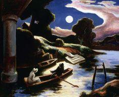 Thomas Hart Benton / Moonlight on the Osage / 1938 / oil on wood / Phillips