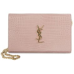 Saint Laurent Women's Monogram Croc-Embossed Leather Chain Wallet (€1.460) ❤ liked on Polyvore featuring bags, wallets, handbags - ysl handbags, rose, croc embossed bag, chain bag, yves saint laurent wallet, croc bags and croc wallet