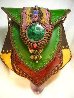 Bolso grande de piel con turquesa Crisocola y Malaquita por Elquino