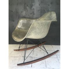 Rocking chair eames original vintage zenith rope edge greige gris elephant grey