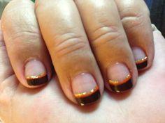 Fall nails -- brown tips lined w/ orange and glitter #fingernails #fallnails $toenails