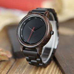 Men's Ebony Wood Watch With Wooden Gift Box   Wood watches for men style internet unique products shops fashion for him date band black awesome accessories gift ideas beautiful guys dads outfit boxes pictures man gifts casual For sale buy online Shopping Websites AuhaShop.com