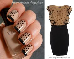 Nail Art ~ 'Mix and Match' ~ Light beige/pink base with black tips and small black dots down half side of nail (another different take on the french manicure! French Manicure With A Twist, French Manicure Designs, Nail Designs, Love Nails, How To Do Nails, Pretty Nails, Fun Nails, Black Nail Art, Black Nails