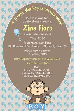 DIY Baby Shower Invitation A little Monkey is on the by LUGRAFIX