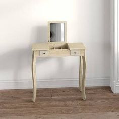 Latitude Run® Nummari Boahaus Matilda Vanity with Mirror & Reviews | Wayfair Vanity Table Set, Vanity Set With Mirror, Wood Vanity, Stool Covers, Storage Compartments, Hidden Storage, Room Colors, Storage Spaces, Storage Ideas