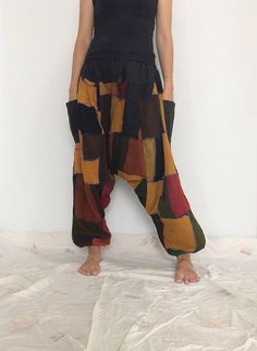Yellow Brown Patchwork Hippie Harem Pants, Unisex Pants, Baggy Pants (HR-524) by ThaiFascinate on Etsy