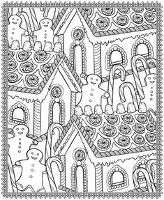 Houses to Color and Print for adults CHRISTMAS VILLAGE coloring