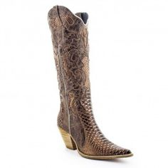 Bota WestCountry 20023 Snake Bronze / Kzar Castanho Cowboy Boots, Bronze, Shoes, Fashion, Women's, Boots, Moda, Zapatos, Shoes Outlet