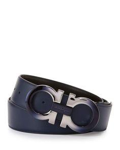 OF183 -   Degrade Double-Gancini Reversible Leather Belt, Blue/Black
