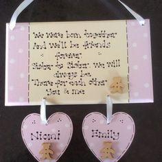 Personalised New baby Twins Girls Sisters Christening Poem Gift Plaque   www.KazKraftUK.com