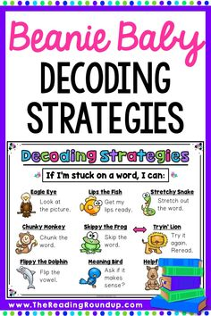 The Beanie Baby Reading Strategies are an extremely effective and engaging strategy to help elementary students improve their decoding skills. Read simple tips and activities for using the strategies with your guided reading, small groups, Guided Reading Activities, Kindergarten Reading, Reading Resources, Autism Resources, Phonemic Awareness Activities, Phonics Activities, Decoding Strategies, Reading Intervention Strategies, Reading Strategies Posters
