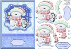 CHRISTMAS CHEER BLUE Card Topper Decoupage on Craftsuprint designed by Janet Briggs - Christmas card front with 3d step by step decoupage. Features cute snowman and penguin, raising a glass of Christmas cheer.NOTE A coordinating insert with verse is available. See multilink below.2 sentiment tags, including one blank. The other reads,Sending Hugs at Christmas - Now available for download!