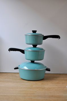 Set of 3 Vintage Mid Century Club Turquoise Pots / by two13vintage, $48.00
