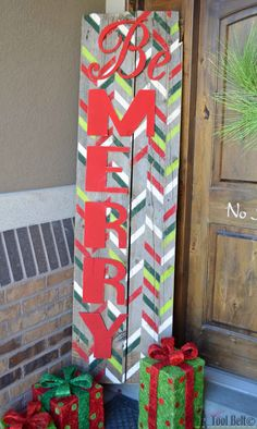 Be Merry rustic Christmas sign - use a herringbone shuffle stencil to create a festive statement piece for your holiday decor.