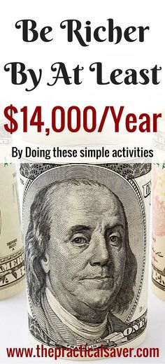You can save more money and be richer by doing simple activities. These are activities that we tend to overlook but they eat up a lot of our money. The suggestions I will lay out here may (not) be applicable to you. These will save you a ton of money, in general. #savings #money #rich #sidehustle #activities