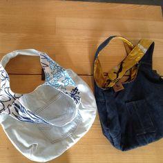 #upcycleddenim reversible bags